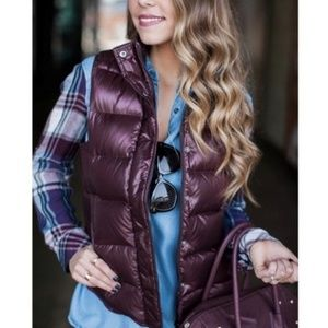 J. Crew Shiny Burgundy Quilted Down Puffer Vest